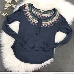 Free People Fairisle Embroidered Thermal Henley